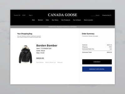 Daily UI - #2 Checkout canada goose fasion ux ui credit card checkout checkout dailyui 2 dail ui daily 002