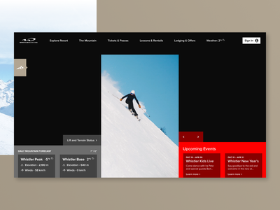Daily UI #003 — Landing Page ysdn ux ui whistler skiing product design website design daily ui daily dailyui app 003