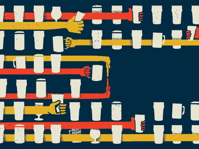 Grab a Pint texture hands homebrew cheers pint illustration beer