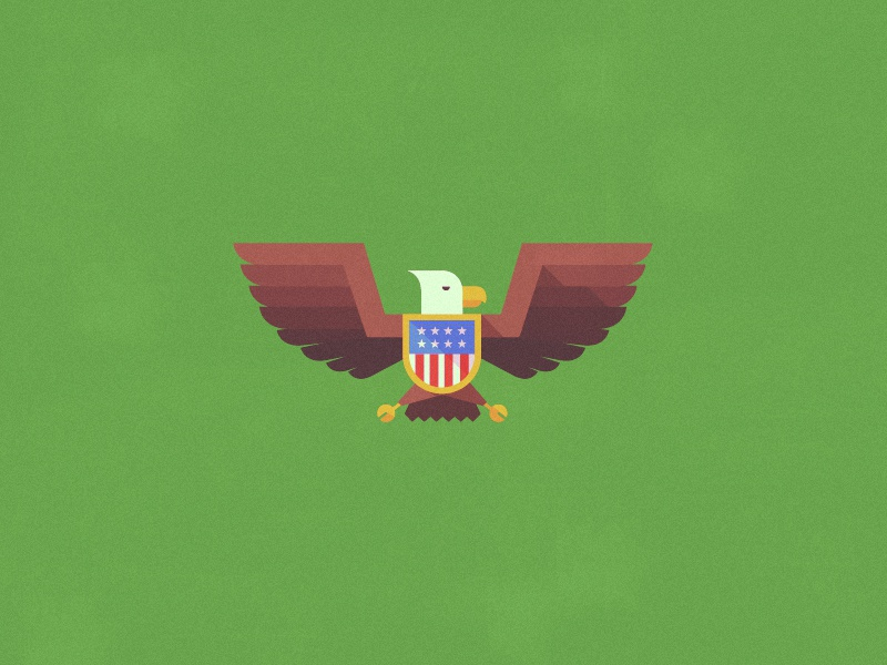Birdy  eagle bird wings flag shield crest design illustration noise vector photoshop illustrator texture symmetry symmetrical icon green white yellow brown blue red ya
