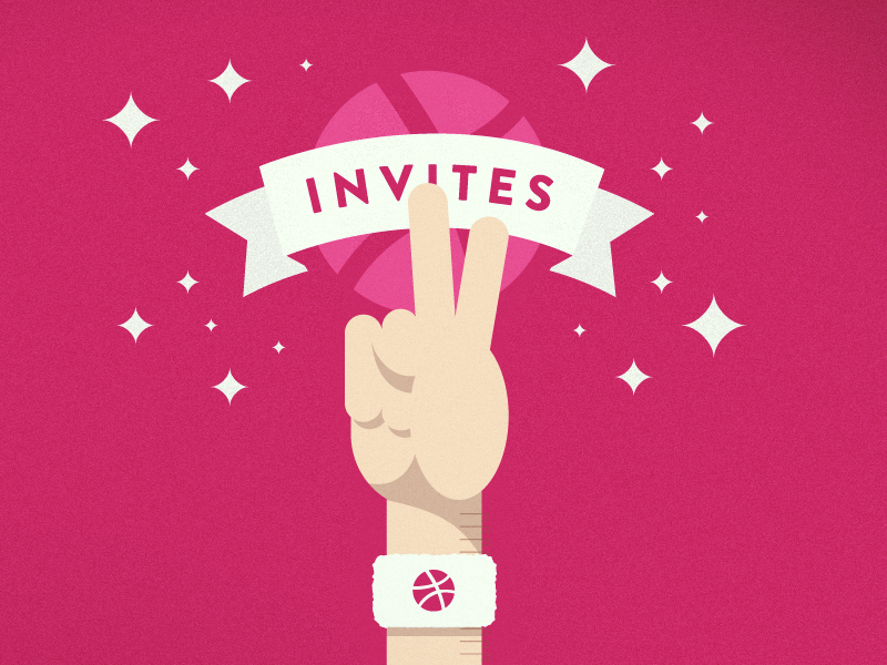 2 Invites invites dribbble illustration design basketball hand peace vector shadows ribbon