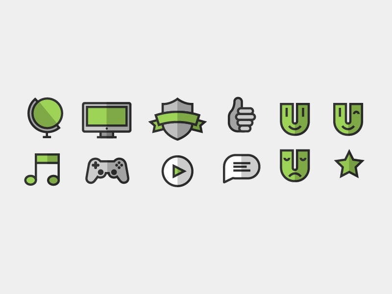 Lil' Friends icons wip branding green grey shadow stroke smiley fun design illustration