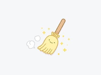 Happy Broom Stick kawaii line illustration empty case ui icon