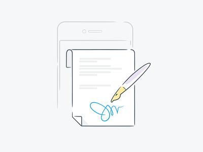 Sign here! contract line icon mobile signature pen illustration