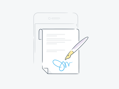 Sign here! contract line icon mobile signature pen illustration