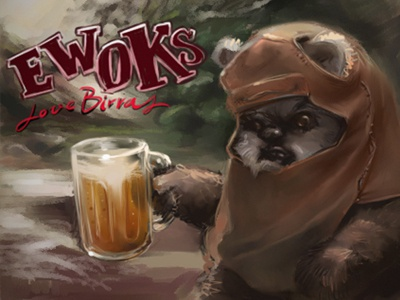 Ewoks speed painting ewok sketch painter beer illustration