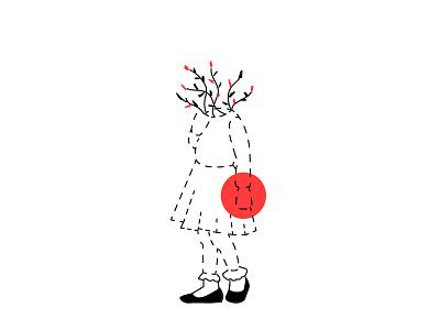 Hello Dribbble  flowers red bleak shy girl