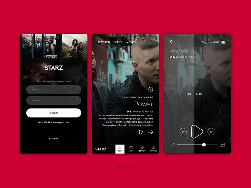Starz tv app mobile design starz