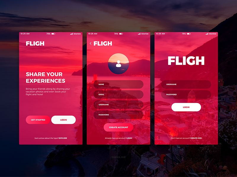 Dribbble Shot: Fligh - Sign up, login screens, travel app
