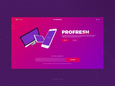 Profresh mareared shapes app pill buttons subscribe form purple pink marea red daily ui landing page