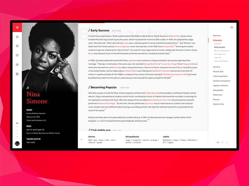 Wikipedia ReDesign desktop web uplabs mareared black red uidesign ui design wiki wikipedia