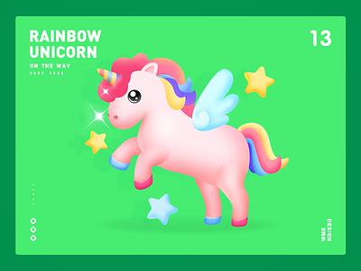 Rainbow unicorn-Live gift live gift ux app image wme design animation rainbows gift hours rainbow unicorn unicorn rainbow illustration affinity designer