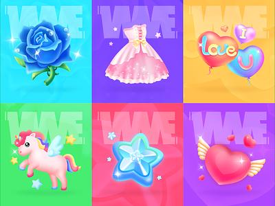 My girl heart series-Live gift animation rose lovely skirt star horse love image design wme illustration app live gift affinitydesigner