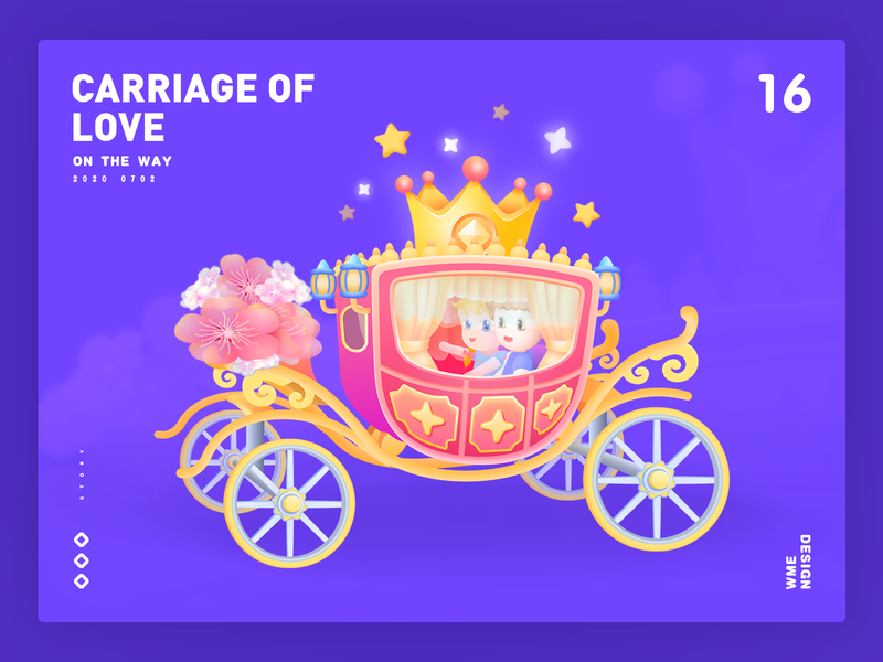 Carriage of love-Live gift gift live gift live design wme distinguished gold horse people car love carriage animation illustration branding affinity designer