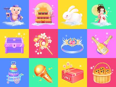 Live stream gift 2 pig rabbit colour music box interesting colourful app live gift wme design illustration affinity designer