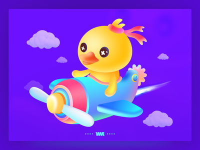 Come on duck!-Live stream gift design airplane yellow duck wme illustration affinity designer
