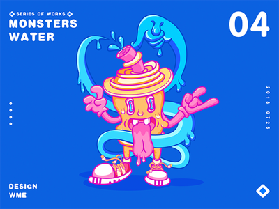 Monster series-04water monster wme illustration