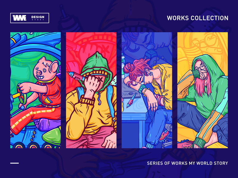 2018-story01(my world) logomark website logotype web typography ux vector ui red app game design ildiesign image iilustration logo illustrator branding wme illustration