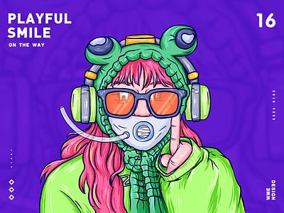 PLAYFUL SMILE people playful design wme illustration smile girl green affinity designer