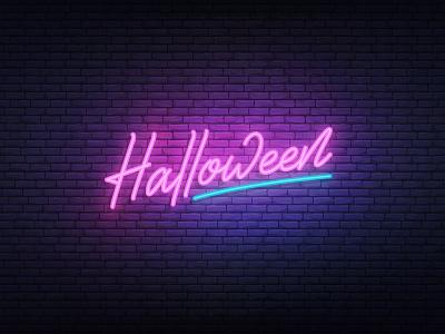 Halloween neon lettering glow neon halloween bash halloween mark label handlettering branding logotype logo type typography design calligraphy lettering dribbbleweeklywarmup