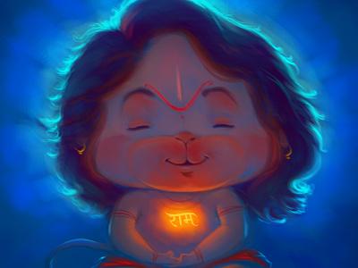 Peaceful Hanumana artwork india hanuman hanumana lord illustrator cartoon illustration design art game gameart