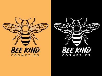 Bee Kind Cosmetics Logo icon yellow white black insect beauty branding digital art graphic design illustration bee logo