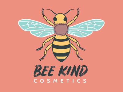 Bee Kind Cosmetics Color Logo yellow white black insect beauty branding digital art graphic design illustration bee logo