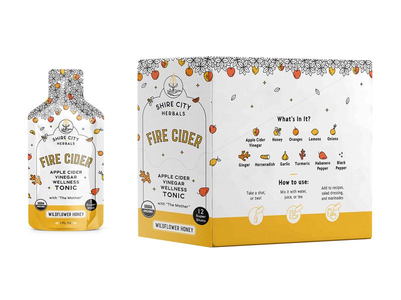 Box for fire Cider sachets honey apple box drink monoline illustration drawing