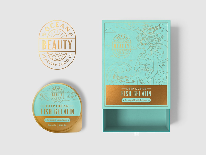 Logo and packaging design for gelatin supplement sea food monoline woman pregnant fish ocean gelatin box drawing