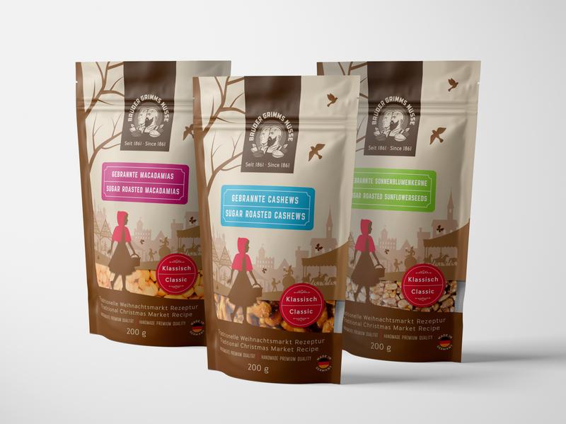 Packaging for Brüder Grimms Nüsse germany grimm almond flat art tale nut illustration drawing