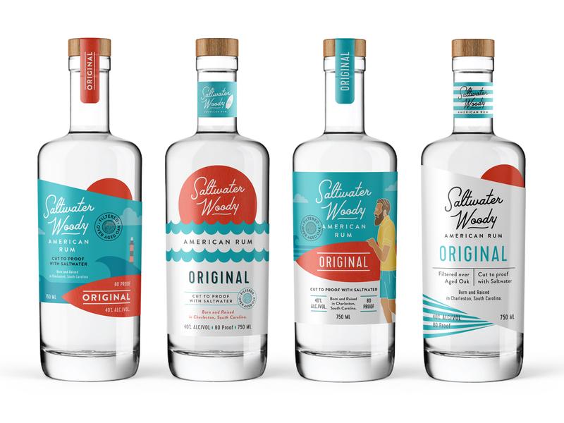 Unused variants for Saltwater Woody Rum labels fun ocean serfing rum sea flat art illustration