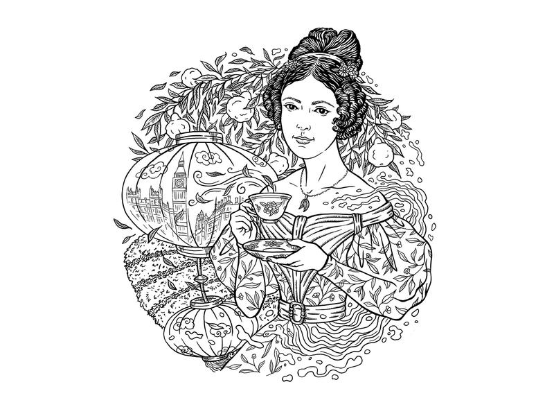 Tea Time britain japan bergamot lemon girl earl grey tea drink vintage illustration drawing