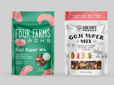 logo and package design for nut mix - variations1 mix nuts illustration line dog fun farm pouch package goji nutrition