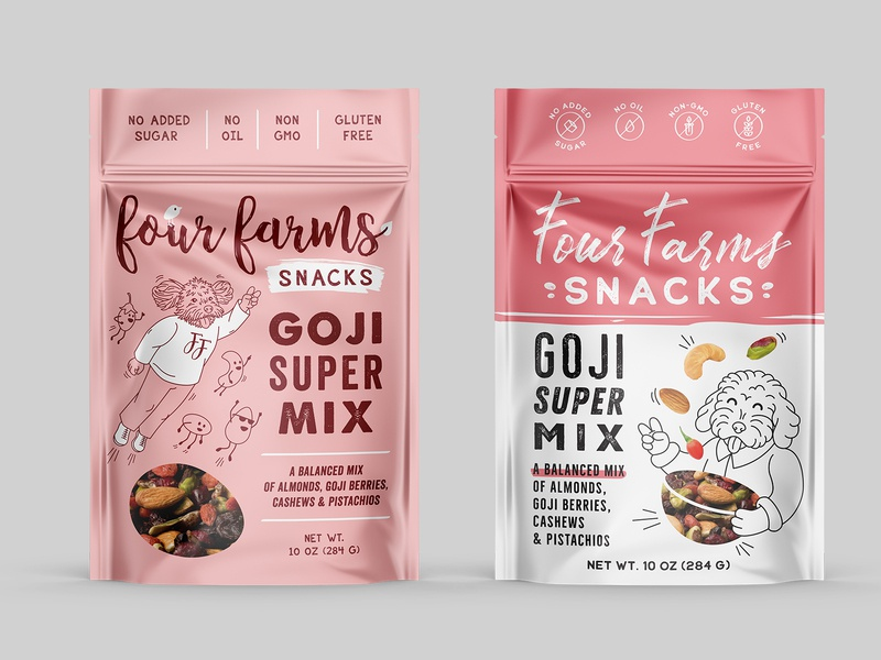 logo and package design for nut mix - variations2 package pouch farm mix nut dog logo drawing illustration