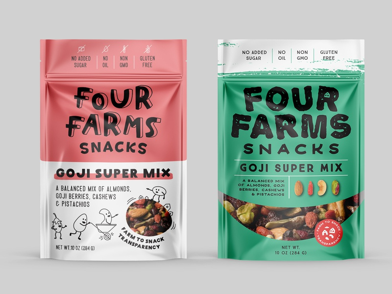 logo and package design for nut mix - variations3 pouch logo dog mix goji nuts farm organic drawing illustration
