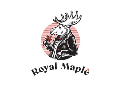 Logo for maple products company sugar syrup maple vintage illustration drawing moose logo design