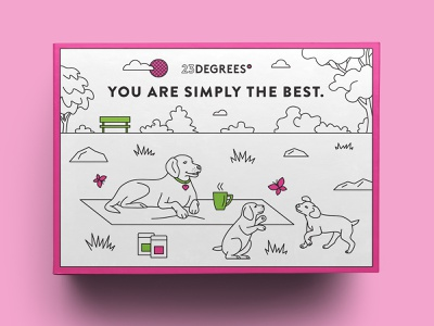 Sleeve for gift box for coffee company 3 australia dog coffee drink monoline drawing illustration