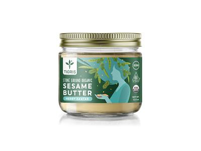 Label design for organic sesame butters food woman jar butter flat art sesame organic label drawing illustration