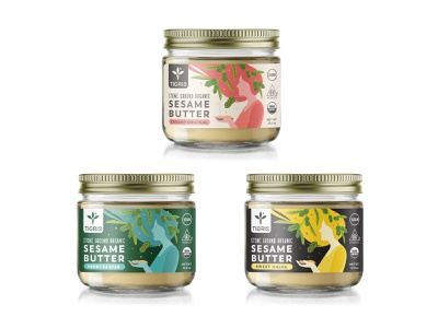 Label design for organic sesame butters food woman jar butter flat art sesame organic label drawing illustration