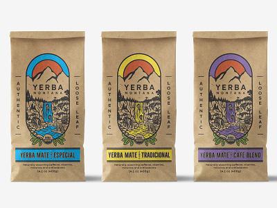 Illustrative Packaging design forYerba Mate Tea nature bag kraft craft hand drawn mate tea drink organic vintage drawing illustration