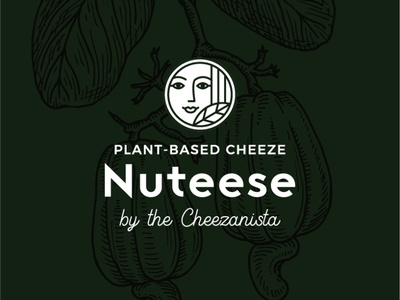 Branding for Plant Based Cheezes company nature girl package green cheeze plant cashew nutrition logo label drawing illustration