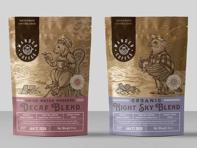 packaging design for coffee company 1 squirrel owl animal forest drink coffee organic vintage drawing illustration
