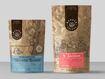packaging design for coffee company 2 company bear fprest drink coffee organic vintage drawing illustration