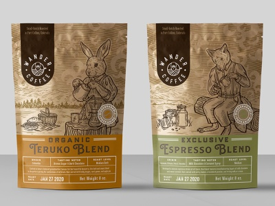 packaging design for coffee company 3 rabbit fox coffee drink organic vintage drawing illustration