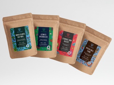Illustrative labels for Optimize Organics label organic drawing illustration