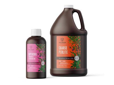 Illustrative labels for Optimize Organics - Dry Amendments agriculture amendment label organic vintage drawing illustration