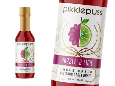 Branding for shrub-based mixers (close up) thorn bottle cocktail mixer lime drink label branding graphic design