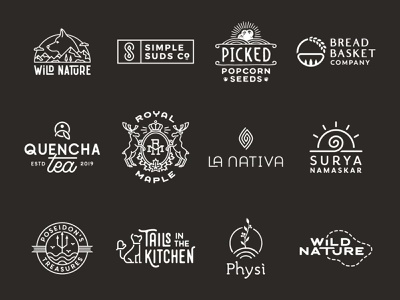 Monoline logos 2.0 art monoline branding graphic design logo
