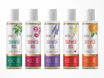 Labels design for Shower Gels line illustration minimal bath bottle cosmetics shower gel label branding graphic design