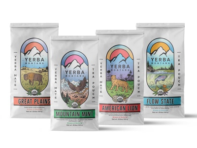Packaging design for mate tea pouches bison fish eagle lion nature hand drawn package pouch tea mate